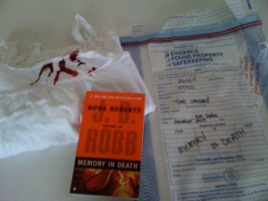 JD Robb Giveaway: Evidence Bag and Book