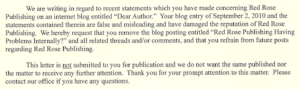 Red Rose Publishing Sends Legal Letter; Does Not Want Publicity
