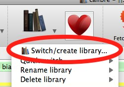 Calibre switch/create library