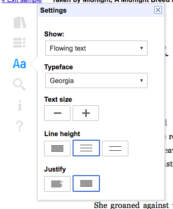 Google Books customize web reader options