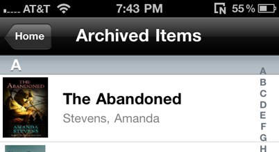 Kindle App Archived Items