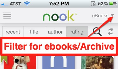 Nook ebook archive filter