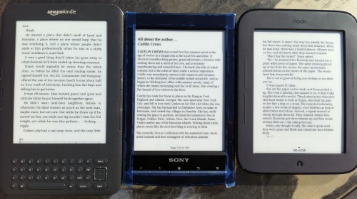comparison between Kindle 3G Sony PRS wifi touch nook touch