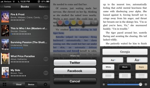 Screenshots from Kindle App