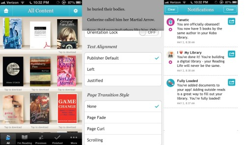 Screenshots from Kobo App