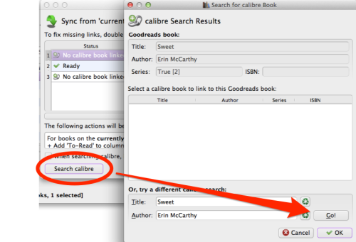 Sync shelf search linked book