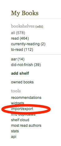 Goodreads import export