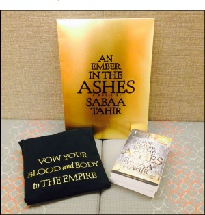 signed galley & T-shirt for An Ember in the Ashes giveaway