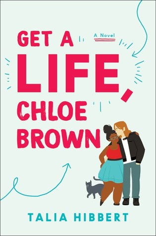 Illustrated cover with the title in big pink letters against a pale blue background. In the front right foreground is a curvy black woman and a tall man with long red hair and a grey cat.