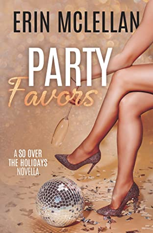 naked white legs, crossed at the knee, feet in silver stiletto heels and the posture seated, with a disco ball on the floor and party confetti all around